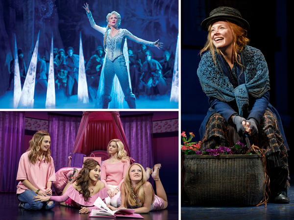 Scenes from FROZEN, MEAN GIRLS, and MY FAIR LADY.